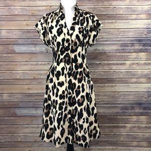 Nanette Lenore Leopard Print Button Up Silk Dress